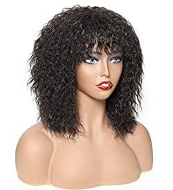 HUA Kinky Straight Human Hair Wigs for Black Women, Afro Wigs with Bangs, 10Inch 150% Density with Adjustable Straps Natual Black