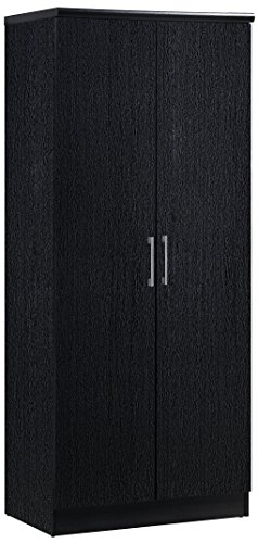 2 Drawer Wardrobe - Hodedah 2 Door Wardrobe with Adjustable/Removable Shelves & Hanging Rod, Black