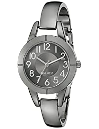 Nine West Women's NW/1763GNGN Easy-To-Read Gunmetal-Tone Bangle Watch