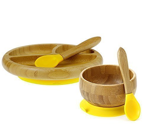 Avanchy Baby Feeding Gift Set - Yellow Bamboo Stay Put Suction Bowl with Spoon & Yellow Bamboo Stay Put Suction 3-Section Plate with Spoon, Ages 6 Months and Up