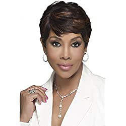"""VIVICA A FOX PURE STRETCH CAP 8"""" SHORT LAYERED ROUNDED SIDE CUT HUMAN HAIR BLENDED FULL WIG - H302 (1)"""