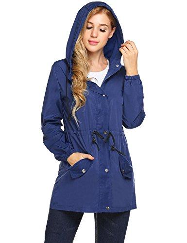 Rain Womens Raincoat Meaneor with Waterproof Lightweight Hooded Active Jacket Zz Pockets Dark Blue Outdoor dqtZtz8