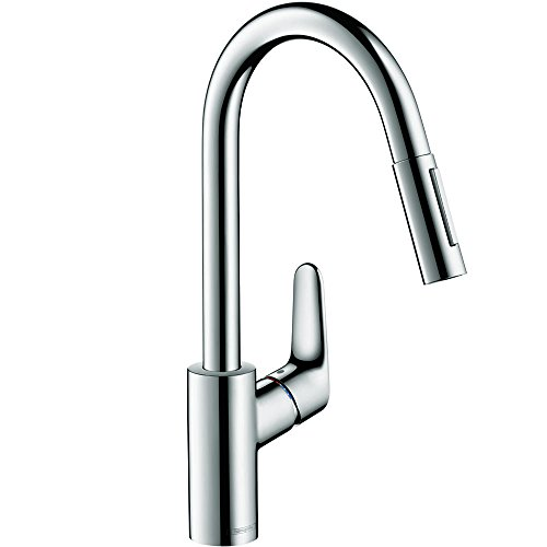Hansgrohe 04505000 Focus HighArc Kitchen Faucet with Pull-Down, 2-Spray, Chrome (Hansgrohe Chrome Spray Faucet)