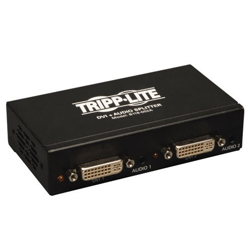 Tripp Lite 2-Port DVI Splitter with Audio and Signal Booster, Single Link 1920x1200 at 60Hz / 1080p (DVI F/2xF)(B116-002A) (Da Lite Speaker)