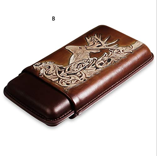 able Cowhide Leather Travel Cigar Case Classic Embossed Cigar Humidor 1-3 Cigars ()