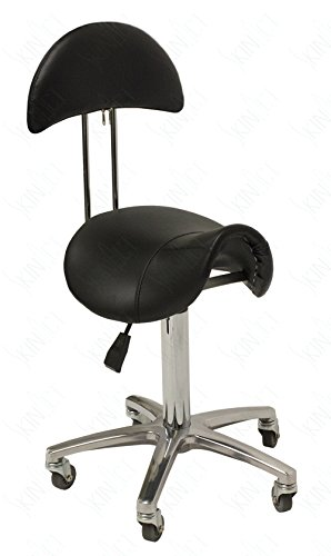 Hydraulic Saddle Esthetician Chair with Backrest Black Stool with Back Salon Stool Spa Equipment