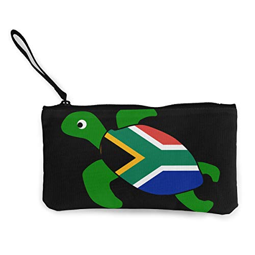 Sea Turtle South African Flag Canvas Coin Purse Cute Change Pouch Money Cash Bag Multifunctional Cellphone Bag with Handle