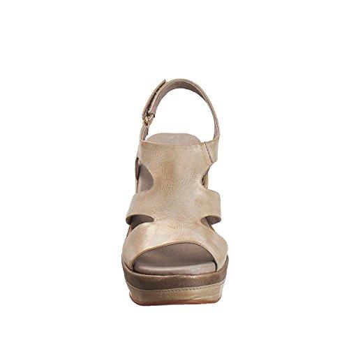 Antilop Kvinna 639 Metalliskt Skinn Sidan Cut Träffat Sandaler Grå