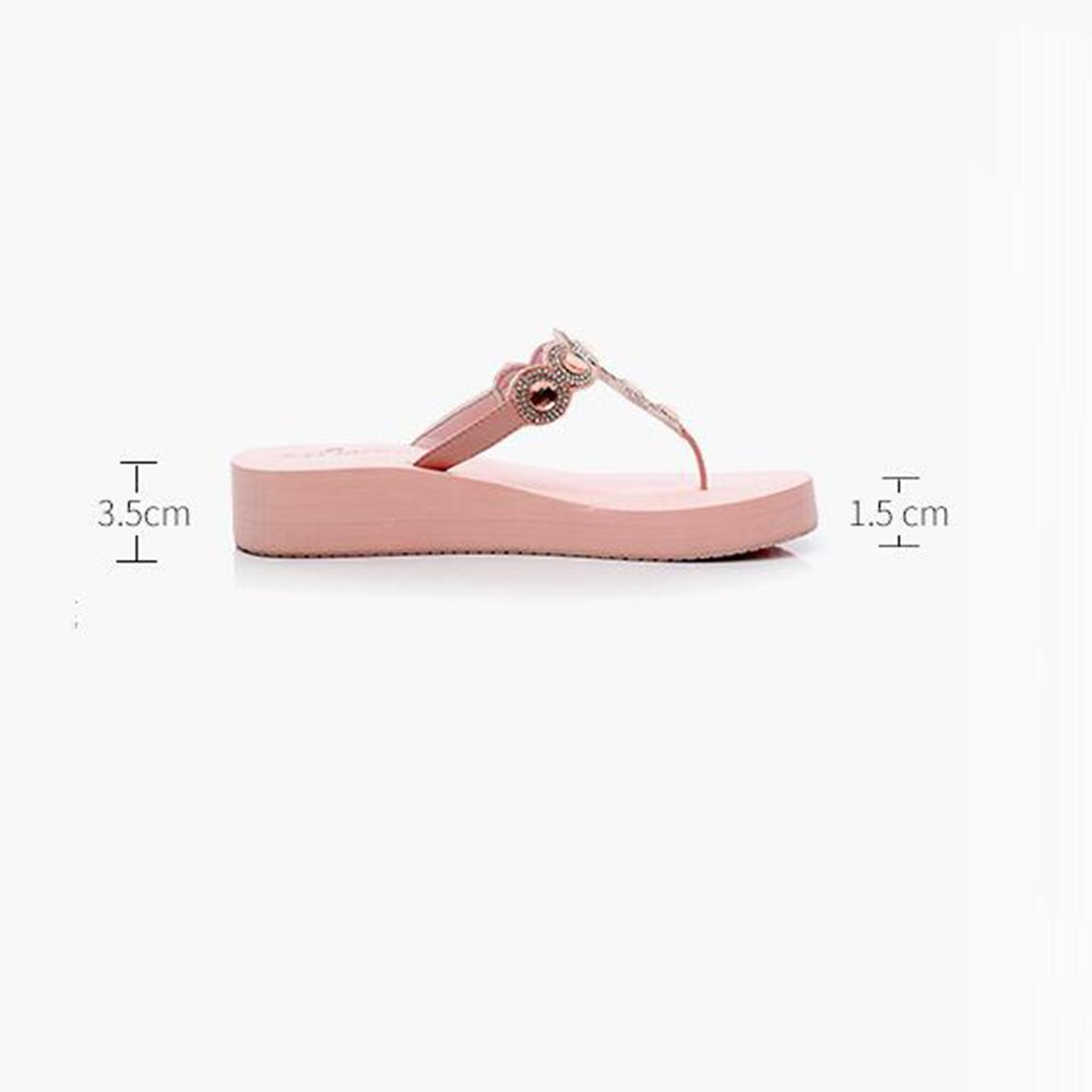 Hausschuhe MEIDUO Sandalen Fashion Slippers Weibliche Sommer Slippery Feet Thick Bottom Student Sandalen Beach Schuhe (Farbe : D-3.5cm, größe : 37)