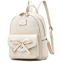 Girls Bowknot Fahsion Leather Small Backpack Mini Backpack for Women Beige