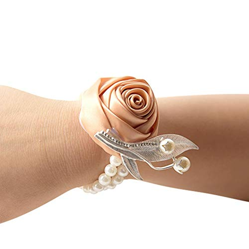 CoronationSun - Silk Rose - Beautiful Silk Rose Wrist Bracelet Hand Flower for Wedding Party