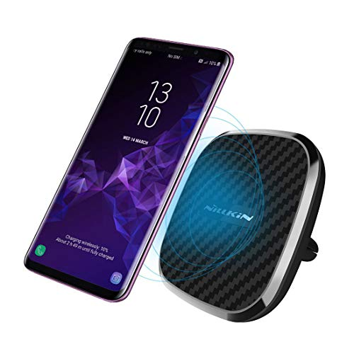 [10W Fast Charge] Nillkin 2-in-1 Qi Wireless Charging Pad & Magnetic Car Mount Air Vent Holder for for Samsung Note 9/8/S9/S8/S8 Plus, 7.5W Fast Charging for iPhone Xs Max/XS/XR/X/8/8 Plus - Model A