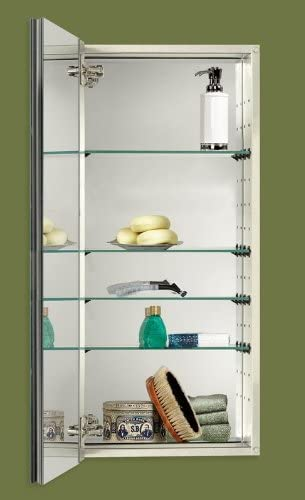 Jensen S468344SS Studio IV Series Recessed Beveled Mirror Medicine Cabinet, White