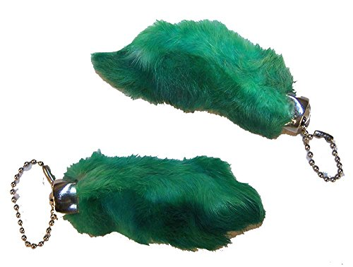 2 Pieces of Green Color Novelty Real Rabbit Foot Key for sale  Delivered anywhere in USA