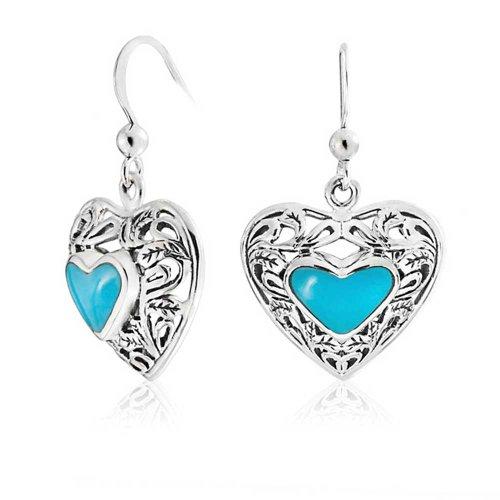 8 Mm Turquoise Heart - Bali Style Scroll Filigree Stabilized Turquoise Heart Shaped Earrings For Women Oxidized Sterling Silver Fish Hook Drop