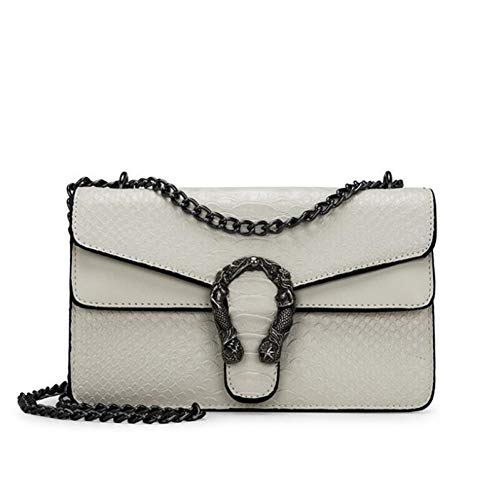 Serpentine Clutch - LHKFNU Women Serpentine Crossbody Bag Designer Fashion Brand PU Leather Chain Flap Snake Embossed Lady Clutch Shoulder Bags