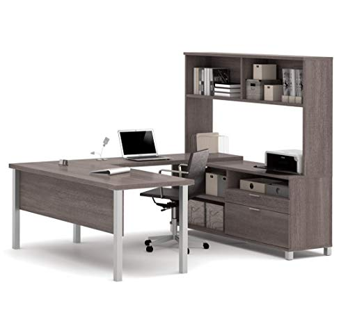 Bestar Pro-Linea U-Desk with Hutch, Bark Grey