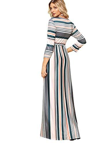 Vita In Multicolor Righe Le Lunga Tasche 1 Con A Donna Manica Casuale Elastico Maxi Milumia Abito qHECEw