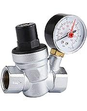 Válvula reguladora de presión SENRISE válvula reductora ajustable de latón válvula de presión de agua con manómetro para agua, multicolor