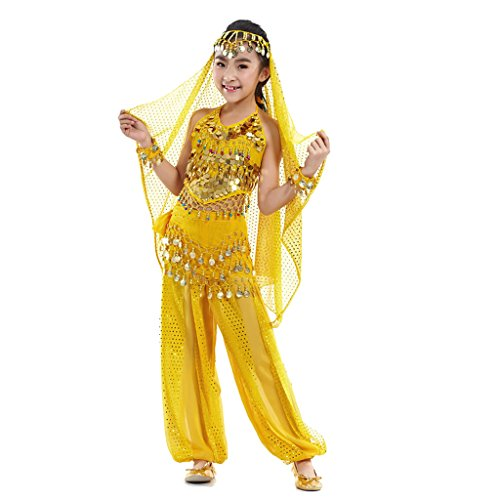 Dance Belly About Costumes (Pilot-trade Kid Elegant Belly Dance Suit for Children Costume 5 Pieces ( Yellow , L)