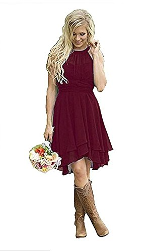 Dresses Western Short Aokaixin Guest Wears Wedding Size Bridesmaid Country Burgundy Plus qwR4RYX