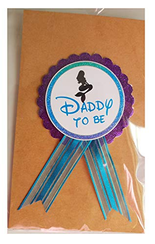 Daddy to Be Pin Mermaid Baby Shower Pin dad to wear at Baby Shower, Purple & Turquoise Pin, Its a Girl, Baby Sprinkle