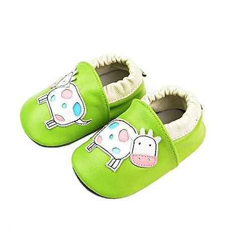 Vesi-Chaussures Bébé Cuir Souple Chaussons Premiers Pas Respirant pour Garçon Fille Nourrisson Efant Vache Noire Taille S:0-6 Mois