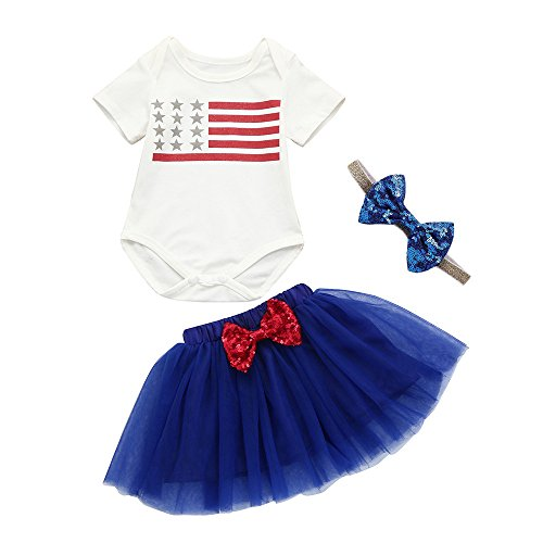 Price comparison product image SMALLE Clearance Baby Girls 4th of July Star Striped Splice Romper Tutu Skirt Outfits Set 3Pcs (0-6M,  Blue)