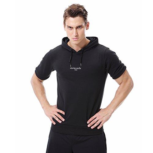 AIRAVATA Men's Pullover Short Sleeve Drawstring Casual Fashion Hoodie Shirt Black by AIRAVATA