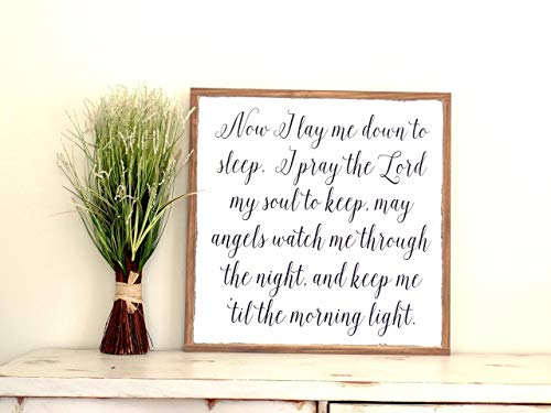 Wood Cottage Nursery - Now I Lay Me Down to Sleep Wood Sign Nursery Painted Wooden Sign Distressed Wall Art Baby Shower Gift 2x2