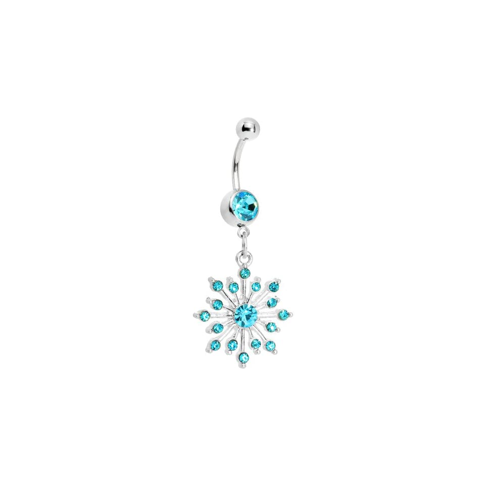 Brilliant Blue Sparkling Snowflake Dangle Belly Ring
