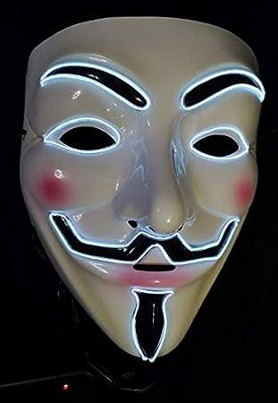 SOUTHSKY V Vendetta Mascara con luz para Fiesta Moda Brillante, Purpura, Máscara de luz