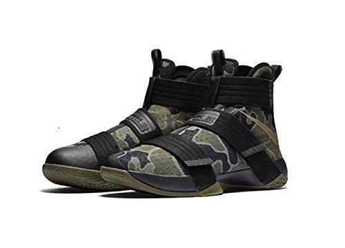 Bamboo Mens Shoes (Nike Lebron Soldier 10 X SFG Camo Mens Black/Medium Olive/Bamboo 844378-022 (8.5))
