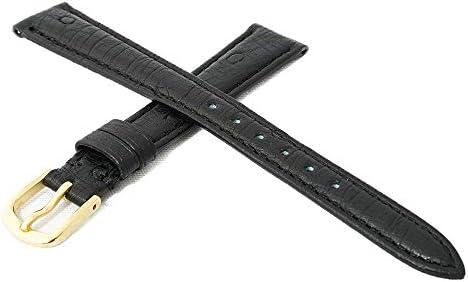 日本製 国内生産 職人によるハンドメイド腕時計ベルト 9mm 高級皮革オーストリッチ(ダチョウ革) ブラック 時計バンド ゴールド尾錠 Made in Japan OS1-9G