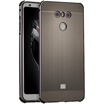 LG G6 Metal Case with Glass Screen Protector, ZLDECO Stylish Edge Shockproof Metal Frame +
