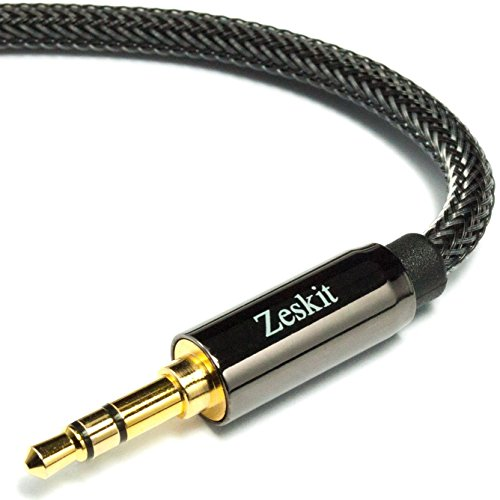 Zeskit 6.5' Premium Audio Cable - 3.5mm, Braided Nylon Stereo Audio Cable (Male to Male)