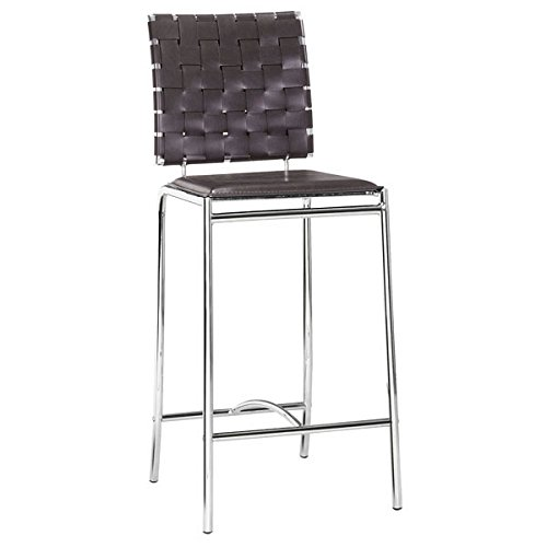 Zuo Criss Cross Counter Chair (Set of 2), Espresso (Chair Zuo Patio)