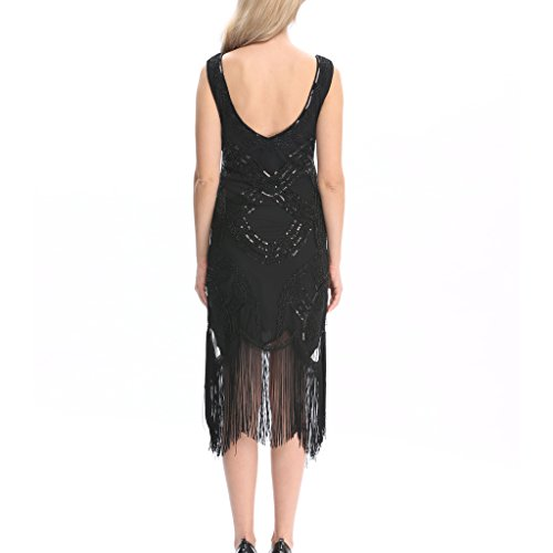 Pilot-trade Lady's Long black Flapper Dress Womens Fancy Dress Costume 20s 1920s Hen Party Ideas S