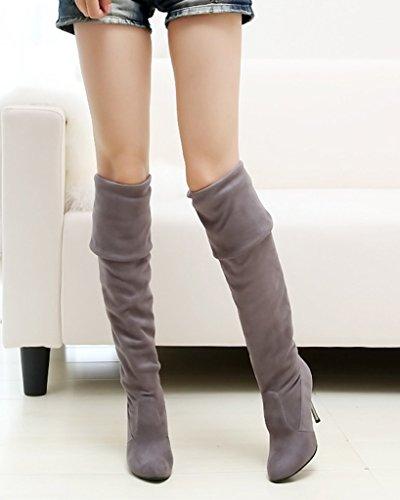 Minetom Mujer Otoño Invierno Botas Biker Color Sólido Botas Largas Tacón Alto Zapatos Estiramiento Rodilla Botas Gris