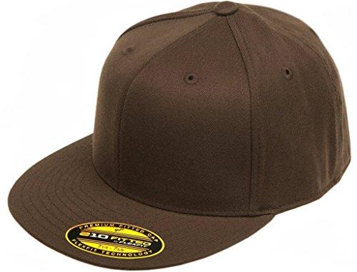 Original Blank Flexfit Flatbill Premium Fitted 210 Hat Cap Flex Fit Flat Bill Large/Xlarge - Brown
