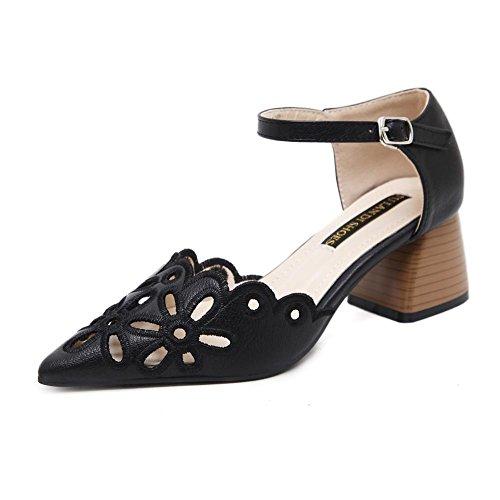 YEEY Sandalias de tacón alto de primavera autom para mujeres de bordado hueco flores puntiagudas Toe zapatos de tacón gruesos verano Black