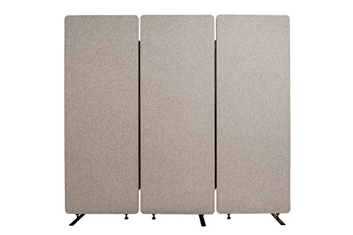 (Luxor 3 Pack Reclaim Acoustic Room Partition Dividers - Misty Gray)
