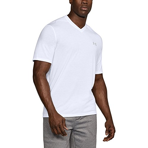 Under Armour Men's Threadborne Siro V-Neck T-Shirt, White/Overcast Gray, XX-Large