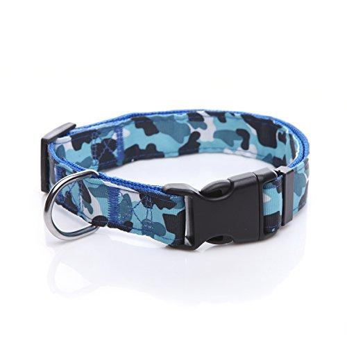 TAIDA Durable Dog Collar, Nylon Camouflage Adjustable Collar, 1 Inch Wide, for Large Medium Dog (Blue)