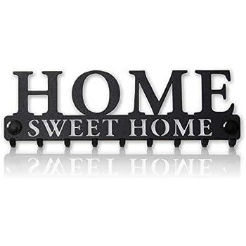 Home Sweet Home Key Holder for Wall (9-Hook Rack) Decorative, Metal Hanger for Front Door, Kitchen, or Garage | Store House, Work, Car, Vehicle Keys | Vintage Decor