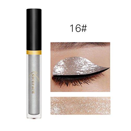 Fenleo Metallic Smoky Eyeshadow Waterproof Glitter Liquid Eyeliner & Eyeshadow Pen (P) (Eyeliner Liquid Estee)