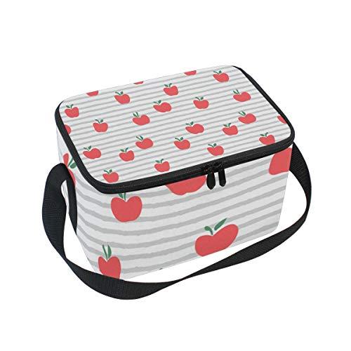 Lunch Bag Cooler Tote Bag Red Apples Line Lunchbox Meal Prep Handbag for Picnic School Women Men Kids ()