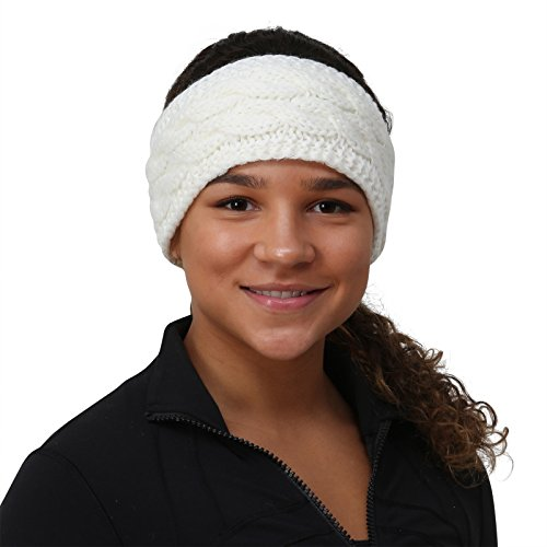 TrailHeads Ponytail Headband | Cable Knit Winter Ear Warmers | Fleece Ear Band for Women - Wintry White