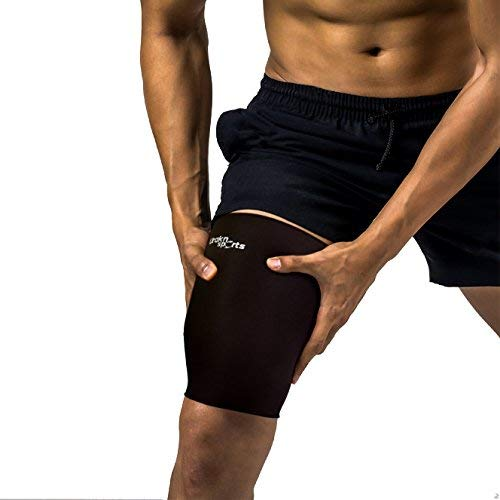 URAKN SPORTS Neoprene Thigh Sleeve Black, Waterproof Thigh Compression Sleeve, Recovery and Support for Quadriceps and Hamstrings, Running Tennis Crossfit Soccer Water Sports (Large)