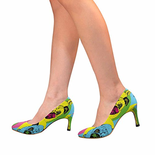 Classic Womens Cute Heel Pose Pump InterestPrint in Puppies Sitting High Fashion Dress 4ZqwR